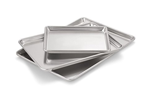 Artisan Professional Classic Aluminum Baking Sheet Pan Set with Quarter, Half, and 2/3-Size (Duty Bun)