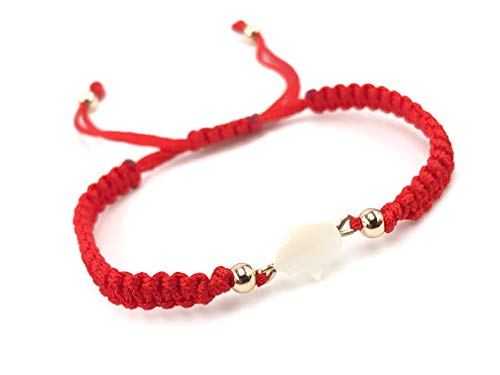 LESLIE BOULES Hamsa Red String Woven Bracelet Adjustable Protection Jewelry ()