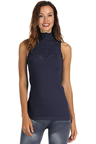DISBEST Women Turtle Neck Sleeveless Tops Mock Turtleneck Vest Polo Neck T Shirt (Dark Grey, X-Large)