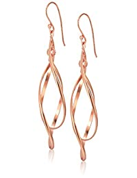 Rose Gold Plated Sterling Silver Double Elongated Oval Twist French Drop Earrings