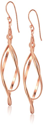 Rose Gold Plated Sterling Silver Double Elongated Oval Twist French Drop (Elongated Teardrop Ring)
