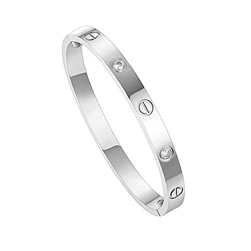 (Dmanyc Jewelry 18 K Gold Bangle Bracelet CZ Stone Hinged Stainless Steel with Crystal Bangle for Women Small Size 6.7