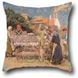 [Pillow Shams 16 X 16 Inches / 40 By 40 Cm(each Side) Nice Choice For Husband,christmas,deck Chair,bar,bedding,sofa Oil Painting Laurits Tuxen - Sun Drying] (Red Crayon Tank Dress Costume)