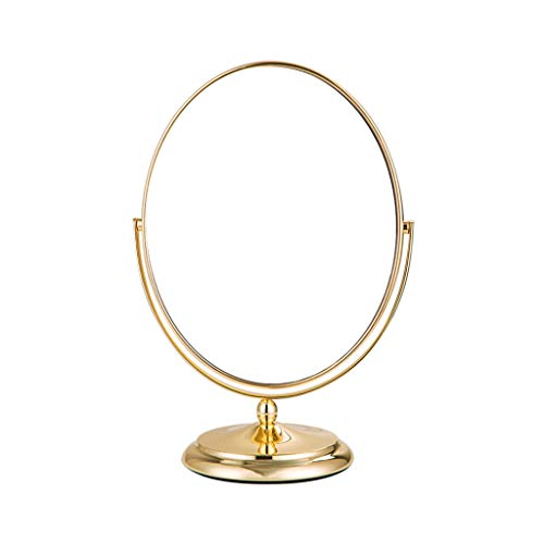 BAOYUANWANG Desktop Vanity Mirror 360 Degree Rotating Double-Sided Desktop Metal Silver Mirror Jewelry Mirror for Home Makeup, Finishing Appearance Mirror Size 20CM25CM ()