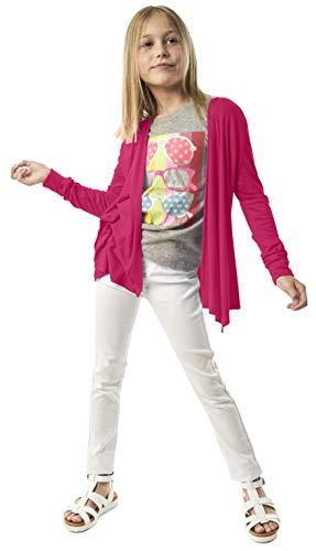 (Open Cardigan for Girls - Long Sleeve Back to School Fall Sweater Fuchsia Purple)