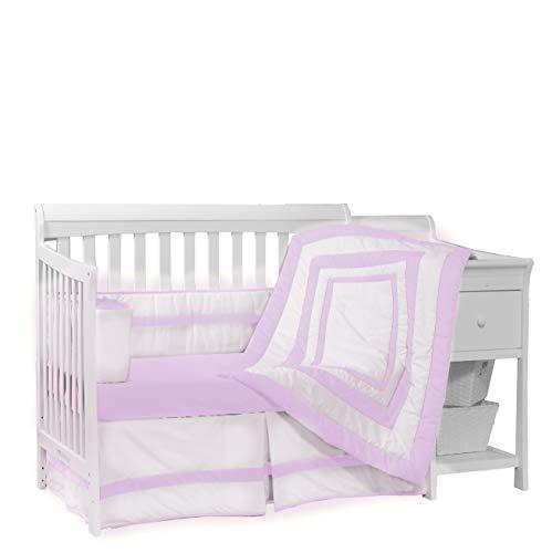 Baby Doll Bedding Modern Hotel Style 4 Piece Crib Bedding Set, Lavender