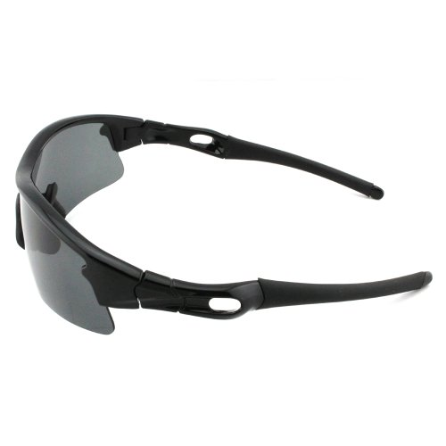 Excellent Black Frame Polarized TR90 Sunglasses Shatterproof for Running Cycling Fishing Golf With Black Case