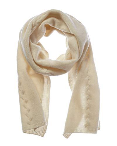 Portolano Womens Cashmere Cable Scarf, White (Portolano Womens Cashmere)