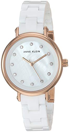 Anne Klein Women's AK/3312WTRG Swarovski Crystal Accented Rose Gold-Tone and White Ceramic Bracelet Watch