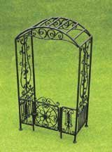 Dollhouse Miniature Black Filigree Arbor with Gate