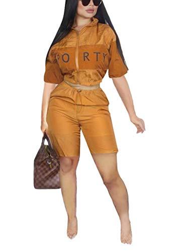 Bluewolfsea Women's Letter Print 2 Piece Outfit Plus Size Windbreaker Jacket Crop Top and Short Pants Set XX-Large -
