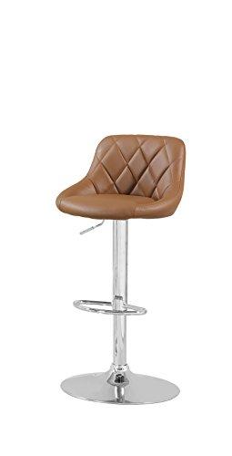 Furniture of America Braxton Adjustable Leatherette Swivel Bar Stool, Camel