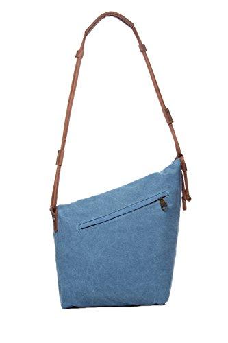 Zenness Verano Nueva Moda Casual simple lienzo Crossbody del mensajero del bolso bolsas de mano para hombres y mujeres (Gris) Azul