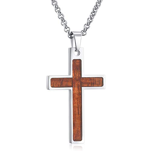 SHINYSO Stainless Steel Cross Pendant Necklace Wood Inlay for Men (Wood) ()
