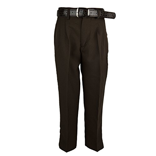 Bocaccio Boys Pleated Dress Pants With Belt Brown 10