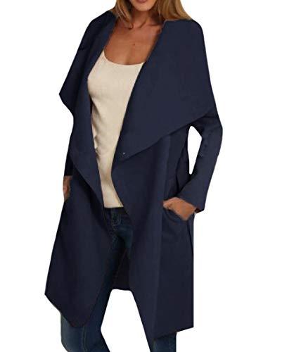 Mid Loose Pocket Long Trench Women Long Woolen Turn Coat Down Howme AS1 Jacket Collar Rc1PnYSqn7