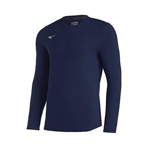 Mizuno Youth Comp Diamond Long sleeve Crew, Navy, Small