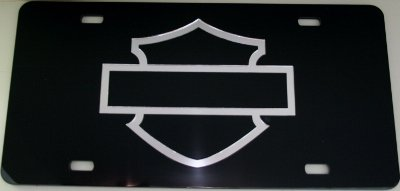 (Harley Davidson Hd Motorcycle Black Acrylic Mirrored Tag License)