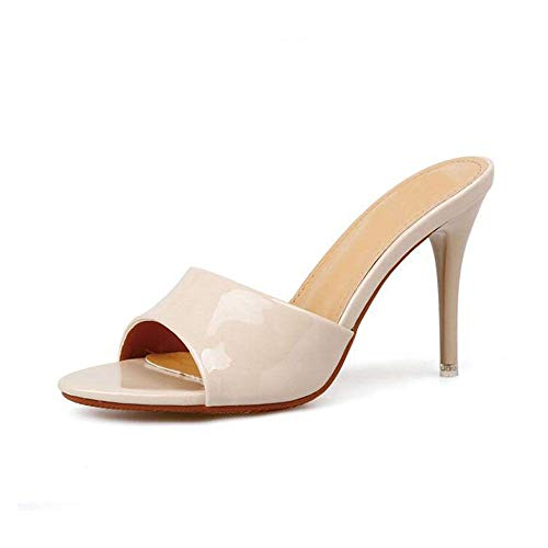 Sandalias Zapatos Abierta Summersolid nbsp;sandalias Zapatillas 10cm Tacón De Concisas Urtjsdg Para Cuero Punta Bombas Alto Negro Con 8 Mujer d68zPq