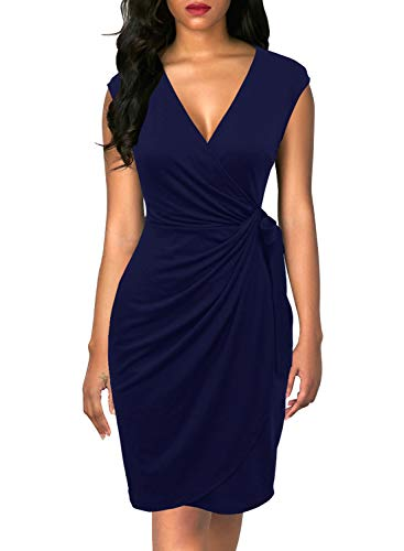Berydress Women's Classic Cocktail Party Cap Sleeve Deep V Neck Draped Waist Tie Belt Knee-Length Faux Wrap Dress (L, 6028-Navy)