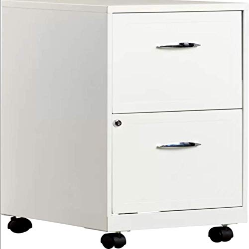 Heavy Duty Rolling Mobile Storage Filing Cabinet w/ 2 Drawers Steel Filing Cabinet Living Room, White Metal Contemporary Drawer Chest & E-Book