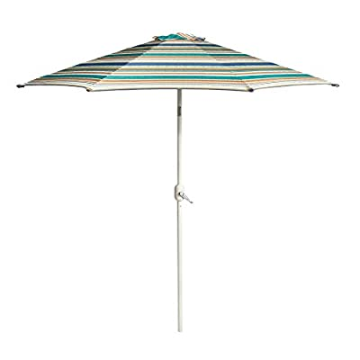 Nantucket 9' Brown/Green/Tan/Blue Striped Cabana Crank/Tilt Market Umbrella - Made of 220g polyester, steel and aluminum Includes a tie closure,,Crank handle opens quickly; pole easily tilts for repositioning UV treated; water resistant - shades-parasols, patio-furniture, patio - 31uBBtQ7fLL. SS400  -