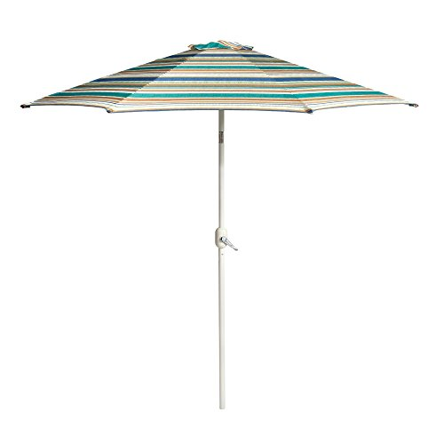 Nantucket 9' Brown/Green/Tan/Blue Striped Cabana Crank/Tilt Market Umbrella