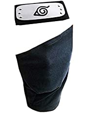 Jebester Leaf Village Logo Metalen Plated Hoofdband/Voorhoofd Beschermer en Gezichtsmasker voor Ninja Cosplay Accessoires Zwart