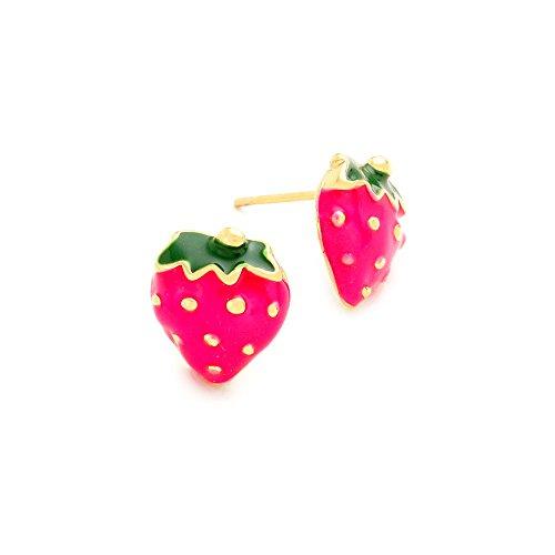 Golden Strawberry Post Earrings with Fuchsia Enamel -