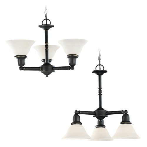 782 Sussex Single Light - Sea Gull Lighting 39061BLE-782 Three-Light Fluorescent Sussex Chandelier, Finish with Satin Etched Glass Shades, 22