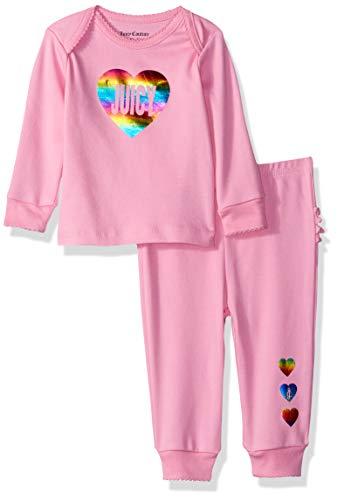 Juicy Couture Baby Girls 2 Pieces Pant Set, Pink, 3-6 Months