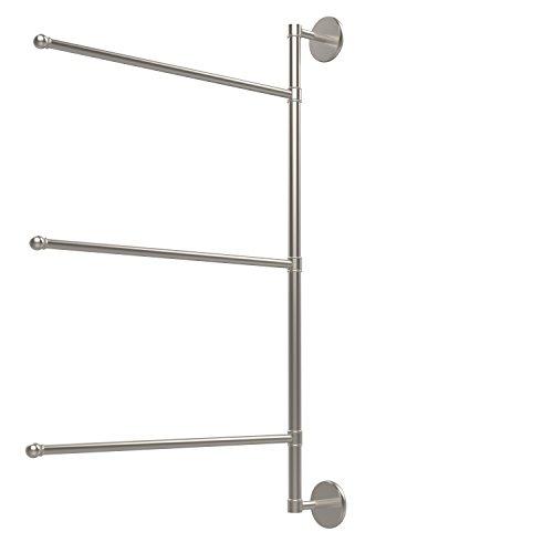 Allied Brass P1027/3/16/28-SN Prestige Skyline Collection 3 Swing Arm Vertical 28 Inch Towel Bar, 28