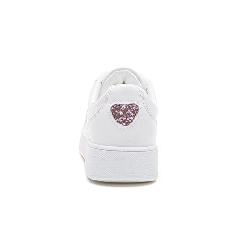Damen Turnschuhe Stickereien Schnürer Freizeit Schuhe Sneakers Low-Top Pink