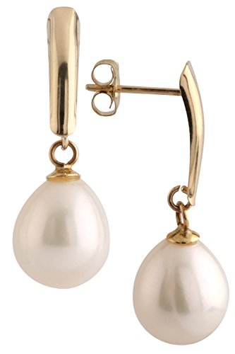 14k Yellow Gold Drop Pearl Earrings with Freshwater Cultured Pearls (Drop Pearl Earrings, Pearls Available in 8-8.5 mm and 10-10.5 mm Sizes, Gift Box Included with Earrings)