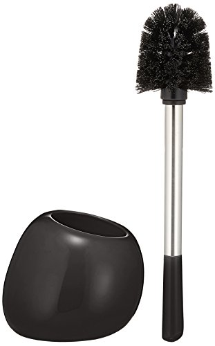WENKO 19289100 Toilet brush Polaris Black, Ceramic, 5.9 x 13.6 x 5.7 inch, Black