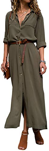 LunaJany Women's Autumn Loose Button Down Side Slit Maxi Shirt Dress
