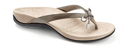 Vionic Women's Rest Bella II Toepost Sandal - Ladies Flip Flop with Concealed Orthotic Arch Support Pewter 8 M US