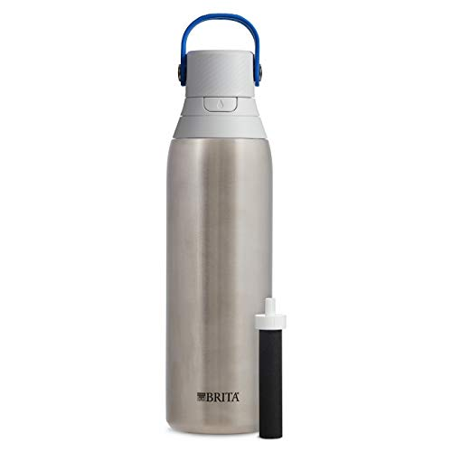 (Brita 20 Ounce Premium Filtering Water Bottle with Filter BPA Free - Stainless Steel)