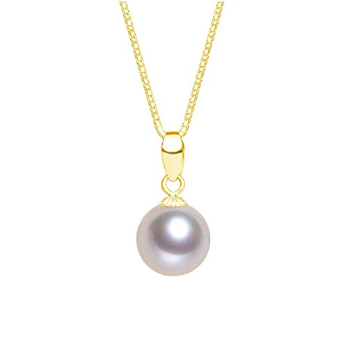 Purple Round Freshwater Cultured Pearl Pendant Necklace (9.5-10mm) (Round Freshwater Pearl Pendant)