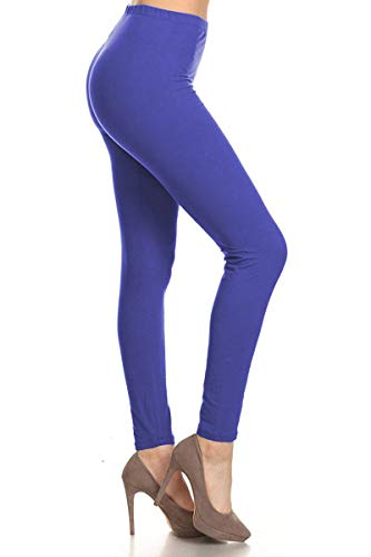 LDR128-RoyalBlue Basic Solid Leggings, One Size