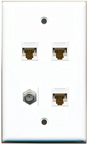 RiteAV 1 Port Coax Cable TV- F-Type 3 Port Cat6 Ethernet Wall Plate - (1 Port Cat5e Wall Plate)