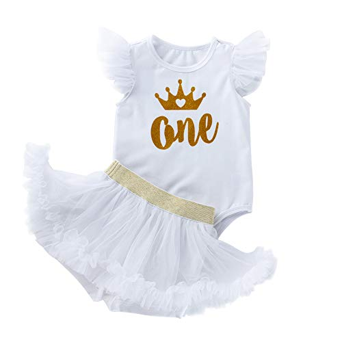 Birthday Outfit for 1 Year Old Girl Sleeveless Romper Tutu Pantskirt 2PCS Set Halloween Cosplay Dress up Special Holiday Summer Vacation Pageant Party Princess White 2PCS 12-18 Months -