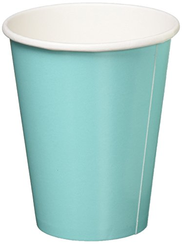 Amscan Disposable Hot and Cold Beverage Paper Cups Tableware Saver Pack Party Supplies , Robin's-Egg Blue, 120 Pieces