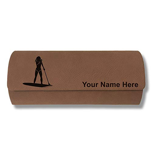 Sunglass Case, Paddle Boarding Woman, Personalized Engraving Included (Dark Brown)
