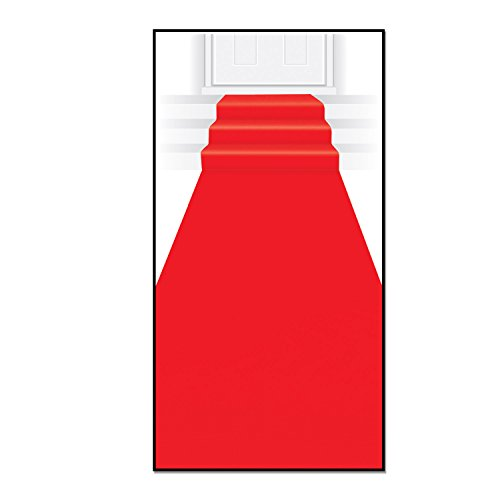 Beistle Carpet Runner, 24in by 15 ft, - Red Carpet Dark