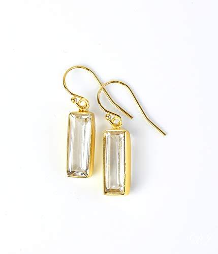 Clear Quartz earrings, April Birthstone Earrings, Gemstone Bar Dangle Earrings ()