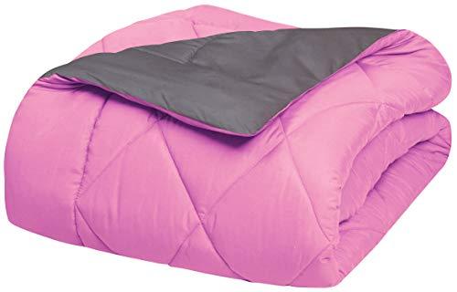 Elegant Comfort Goose Down Alternative -Diamond-Stitched- Quilted 2-Piece Reversible Comforter Set/Duvet Insert Soft Hypoallergenic Bedding-Medium Warmth for All Seasons, Twin/Twin XL, Pink/Grey (Elegant Comfort Goose)