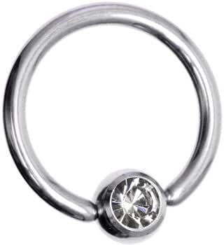 Body Candy Stainless Steel Captive Ring Created with Swarovski Crystal 14 Gauge 12