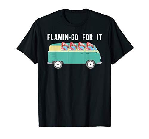 Retro Van Flamingo Shirt, Groovy Bus Road Trip Pun Tee Gift ()