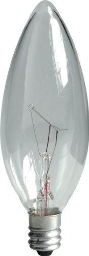 GE Lighting Crystal Clear 75033 40-Watt, 280-Lumen Blunt Tip Light Bulb with Candelabra Base, 10-Pack (Candelabra Tip Blunt)